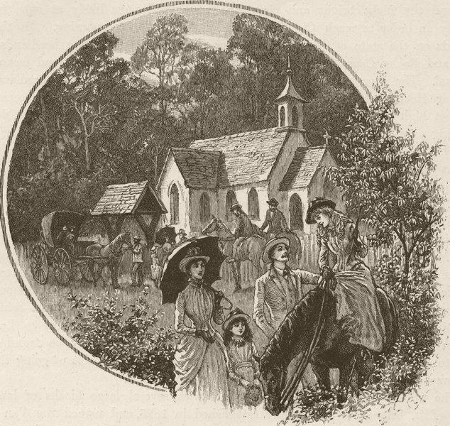 Associate Product CHURCHES. Tamar & NW coast. &. Tasmanian Bush Church 1890 old antique print