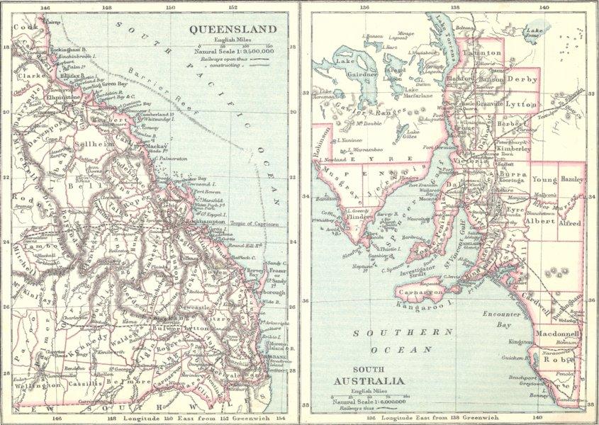 Associate Product AUSTRALIA. Queensland; South 1890 old antique vintage map plan chart