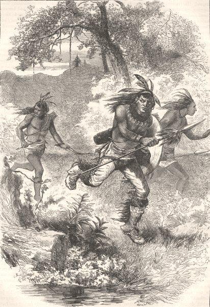 Associate Product USA. Flight of Indians after massacre c1880 old antique vintage print picture