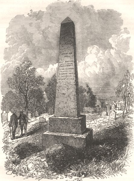 Associate Product MASSACHUSETTS. Bradford's Grave, New Plymouth c1880 old antique print picture