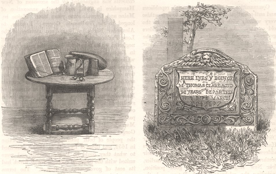 Associate Product MAYFLOWER. Bible of, Plymouth; Mate's tomb c1880 old antique print picture