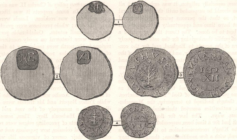 Associate Product MASSACHUSETTS. Massachusetts coinage c1880 old antique vintage print picture