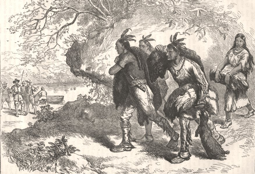 Associate Product US. Indians bringing beaver-skins to fleet c1880 old antique print picture