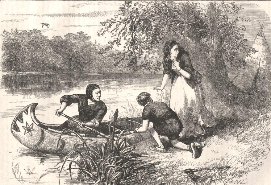 Associate Product USA. Mrs Dunstan escaping down Merrimac c1880 old antique print picture