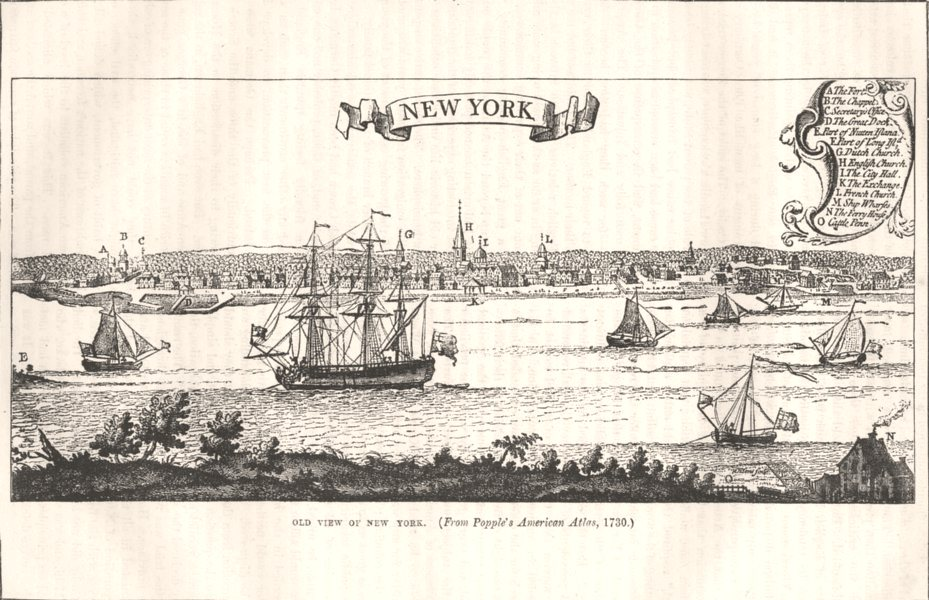 Associate Product NEW YORK. (from Popple's American Atlas, 1730) c1880 old antique print picture