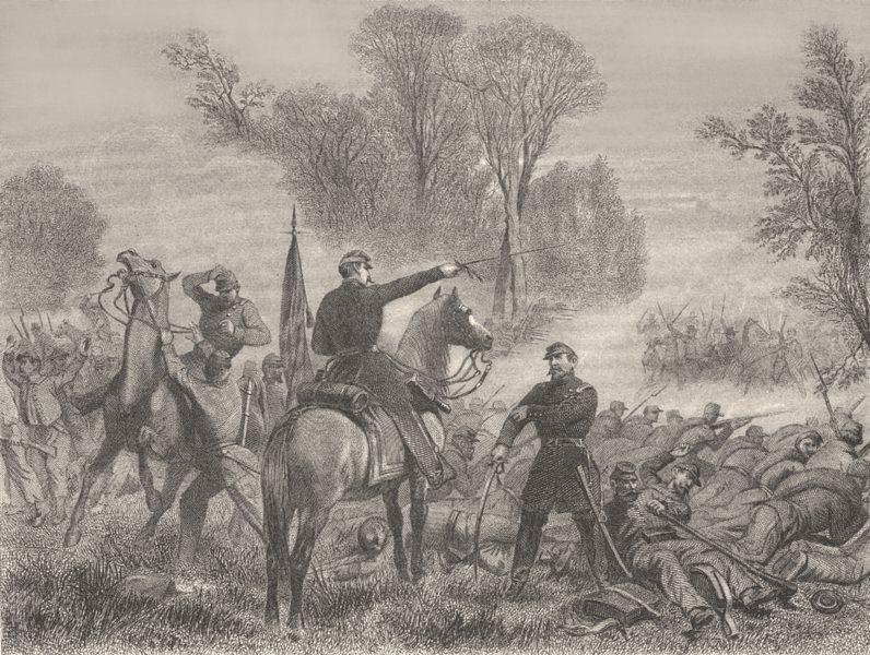 Associate Product VIRGINIA. Bull Run-1861(Gen Blenker's retreat) c1880 old antique print picture
