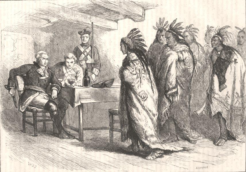 CANADA. Visit of Pontiac & Indians to Maj Gladwin c1880 old antique print