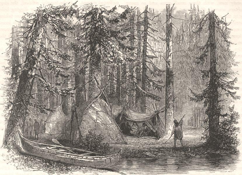Associate Product USA. Primeval forest & Indian lodges c1880 old antique vintage print picture