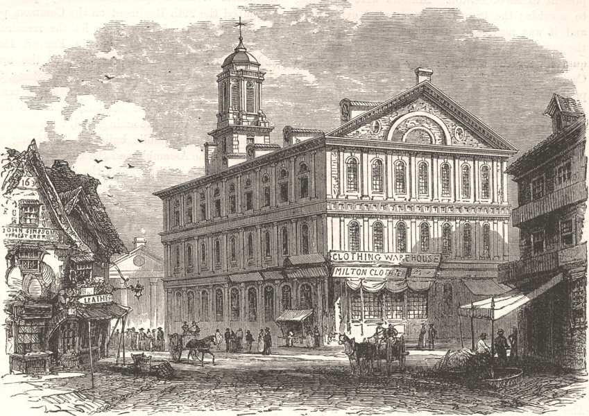 Associate Product MASSACHUSETTS. Faneuil Hall, Boston c1880 old antique vintage print picture