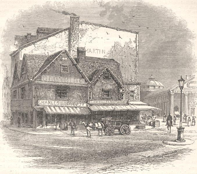 Associate Product BOSTON. Building where tea-plot was hatched c1880 old antique print picture