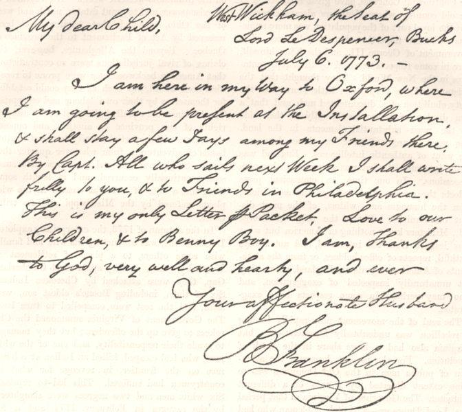 Associate Product POLITICS. Copy, Benjamin Franklin letter c1880 old antique print picture