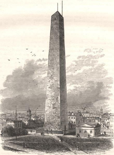 Associate Product MASSACHUSETTS. Monument, Bunker Hill c1880 old antique vintage print picture