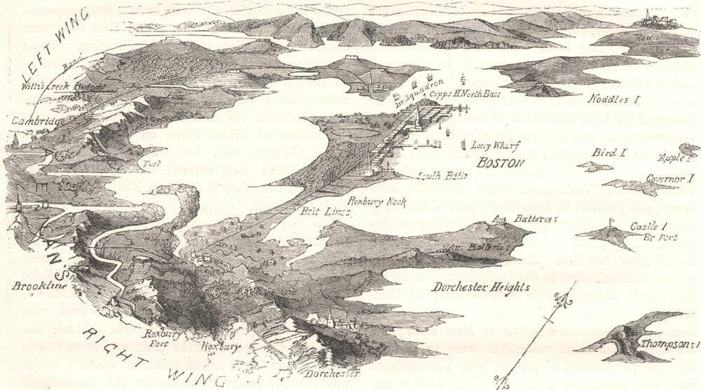 Associate Product MASSACHUSETTS. Plan of blockade Boston c1880 old antique map chart