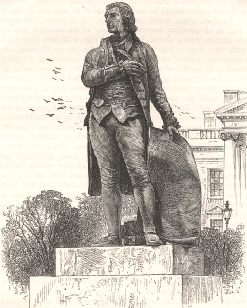 Associate Product WASHINGTON. Statue of Jefferson, White House  c1880 old antique print picture