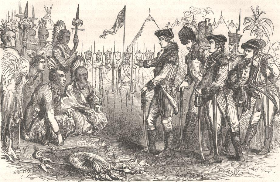 Associate Product MILITARIA. General Burgoyne addressing Indians c1880 old antique print picture