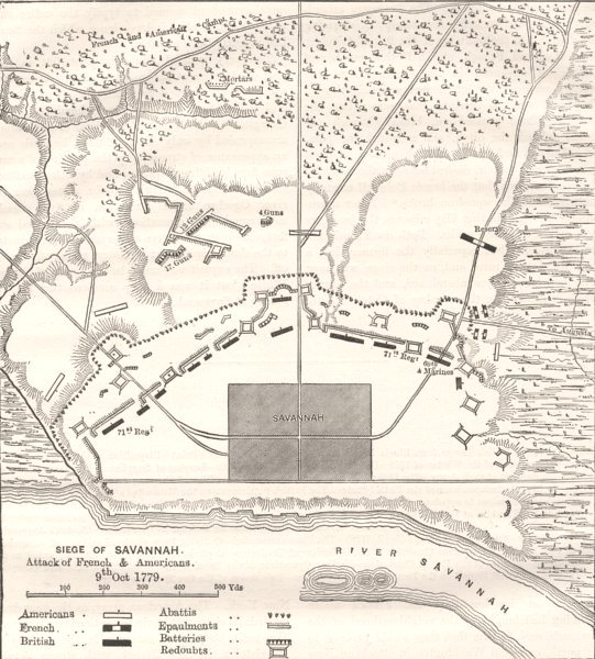 Associate Product GEORGIA. Plan of position before Savannah c1880 old antique map chart