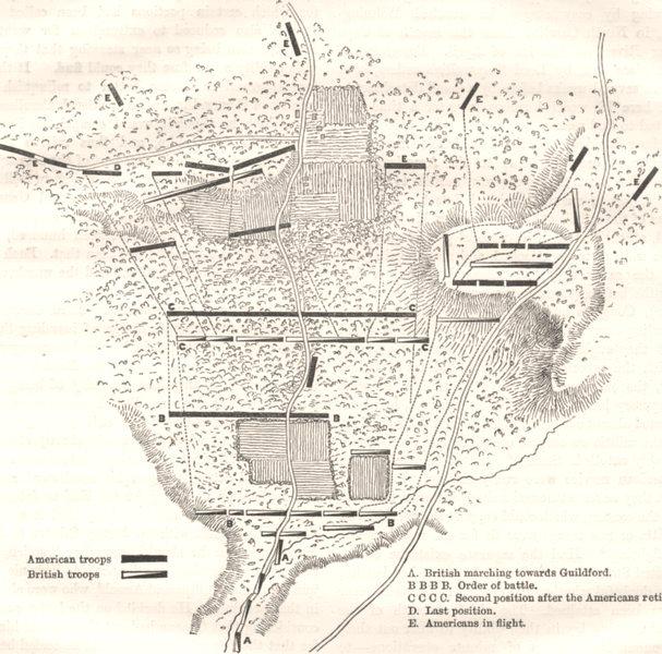 Associate Product NORTH CAROLINA. Plan, Battle Guildford(Stedman) c1880 old antique map chart