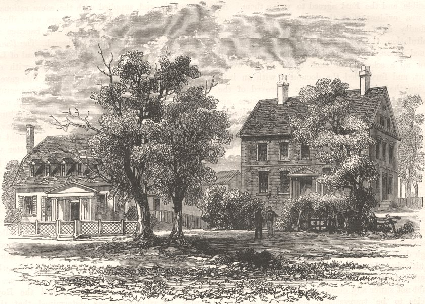 Associate Product BUILDINGS. House where Cornwallis surrendered c1880 old antique print picture