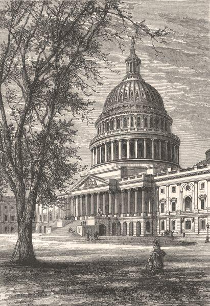 Associate Product WASHINGTON DC. Capitol  c1880 old antique vintage print picture