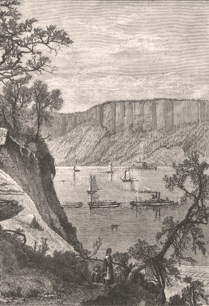 Associate Product NEW YORK. The Palisades of the Hudson c1880 old antique vintage print picture