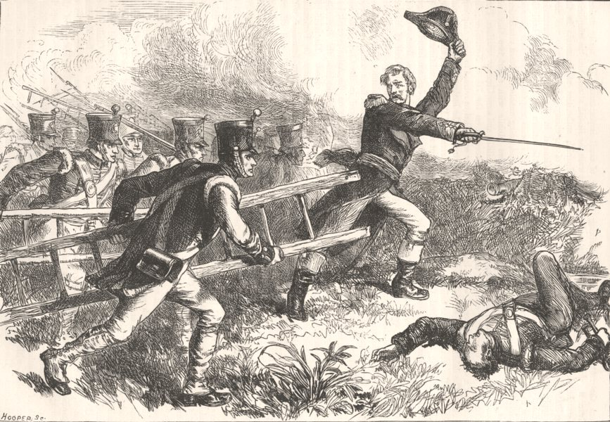 Associate Product LOUISIANA. Pakenham leading attack on New Orleans c1880 old antique print