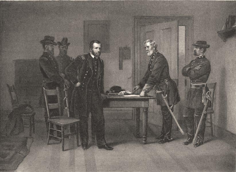 Associate Product USA. Surrender of General Lee c1880 old antique vintage print picture