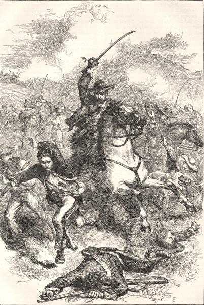 Associate Product MILITARIA. Battle of Buena Vista c1880 old antique vintage print picture