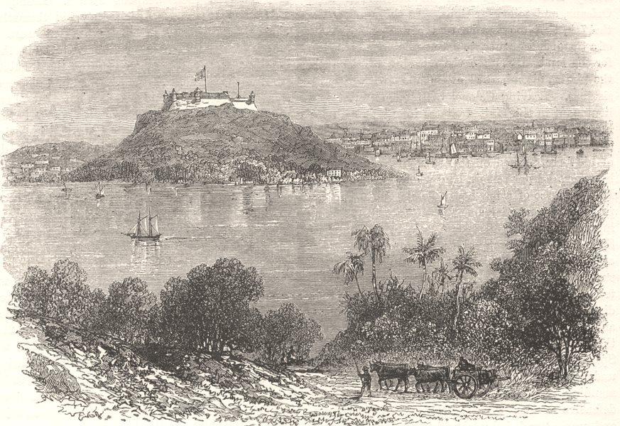 Associate Product CUBA. Havana Harbour, where 50 invaders were shot c1880 old antique print