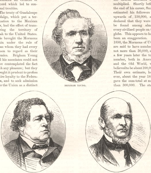 Associate Product CLERGY. Brigham Young; George Smith; Heber Kimball c1880 old antique print