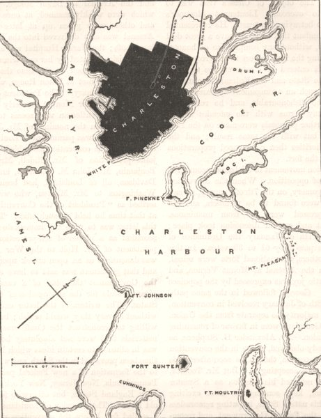 Associate Product CHARLESTON. Civil War. Forts & harbour plan c1880 old antique map chart