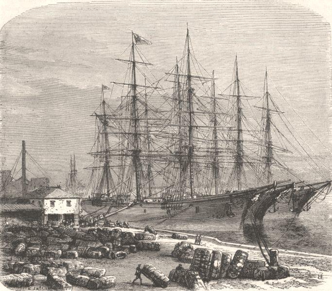 GEORGIA, US. Civil War. Boarding cotton, Savannah c1880 old antique print