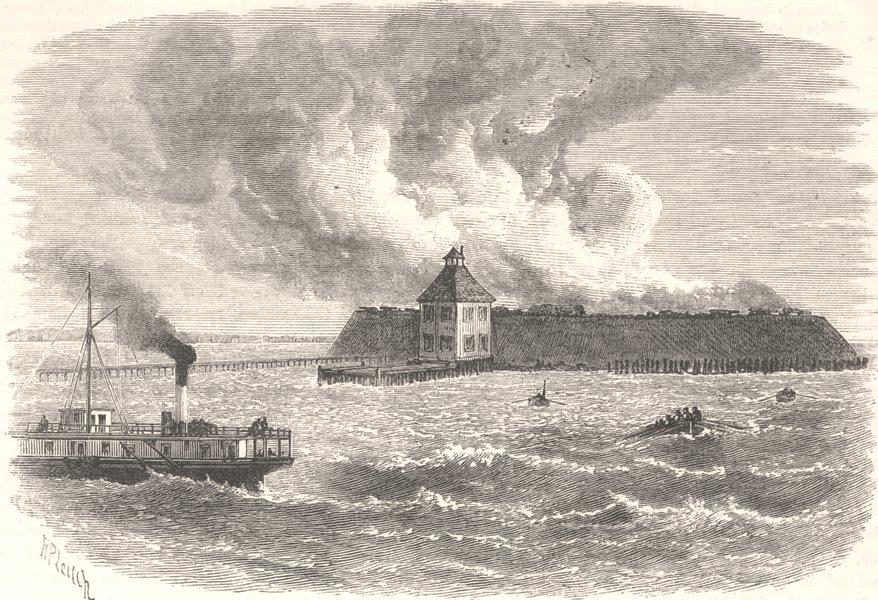Associate Product NORTH CAROLINA. Civil War. Ft Ocracoke destroyed c1880 old antique print