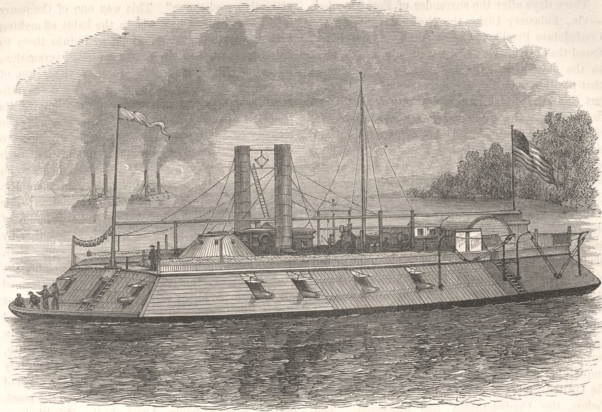 Associate Product USA. Civil War. Federal ironclad river gunboat c1880 old antique print picture