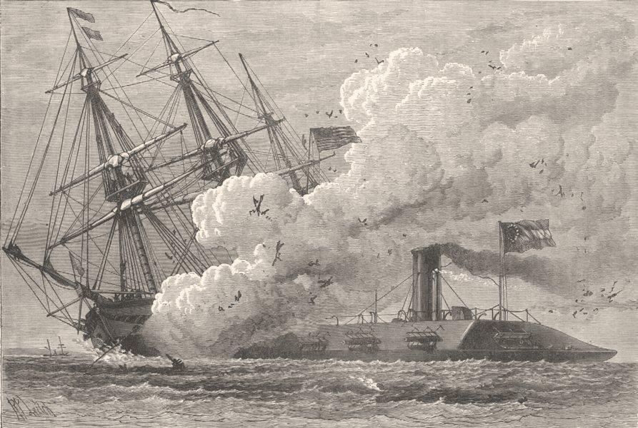 Associate Product USA. Civil War. Merrimac sinking Cumbria c1880 old antique print picture
