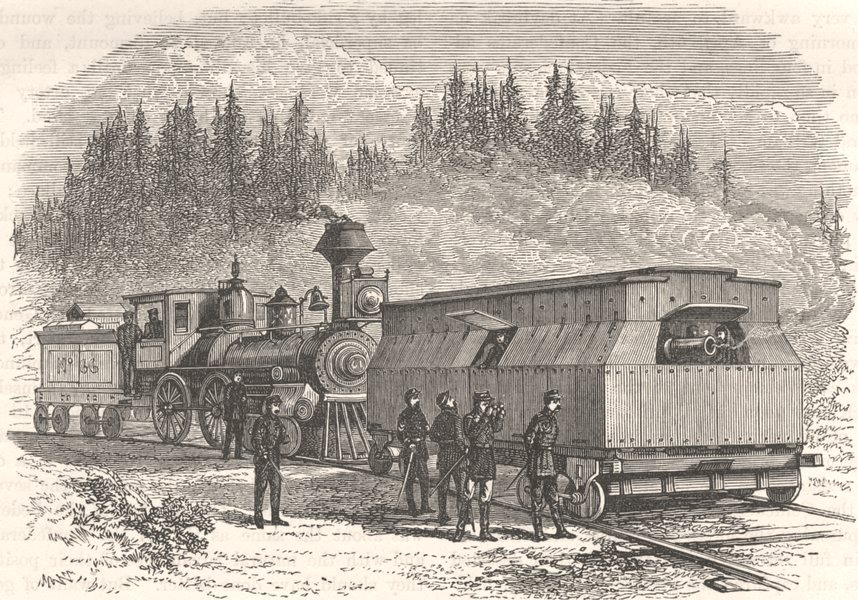 Associate Product USA. Civil War. A railroad battery c1880 old antique vintage print picture