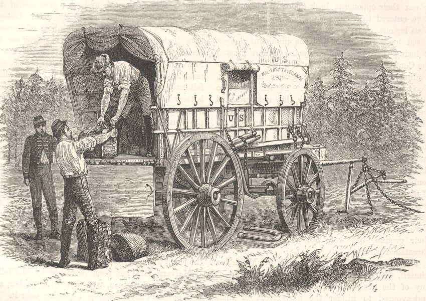 Associate Product USA. Civil War. Military telegraph wagon c1880 old antique print picture