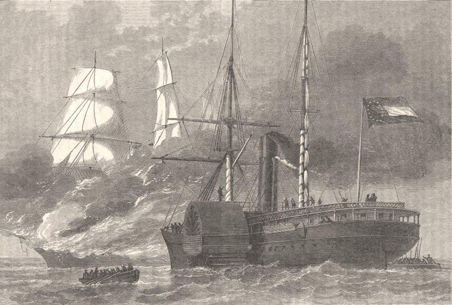 Associate Product USA. Civil War. Nashville Destroying Federal ship c1880 old antique print