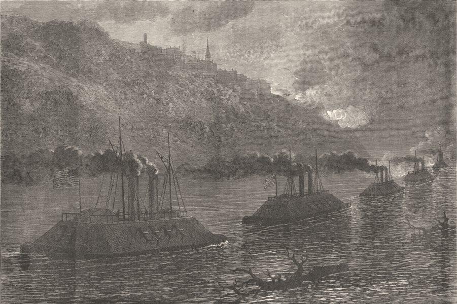 Associate Product MISSISSIPPI. Civil War. Gunboats passing Vicksburg c1880 old antique print