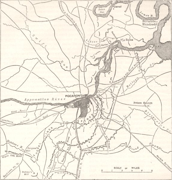 Associate Product VIRGINIA. Petersburg; Confederate, Federal Forts c1880 old antique map chart