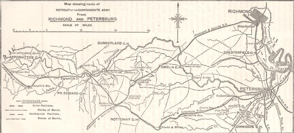 Associate Product Confederate Retreat. Richmond, Petersburg c1880 old antique map plan chart