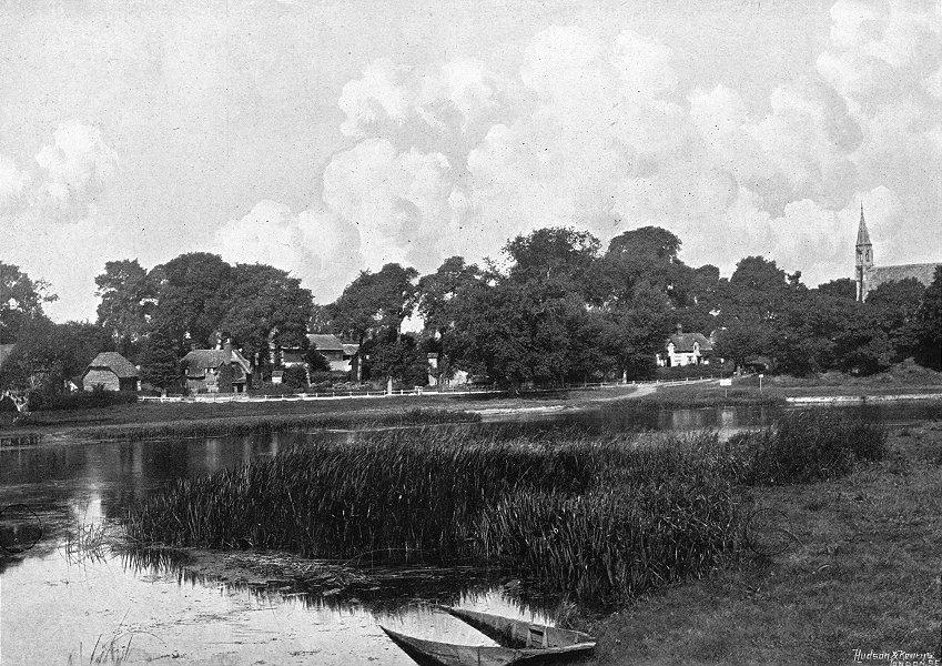 Associate Product OXON. Clifton Hampden, river 1897 old antique vintage print picture