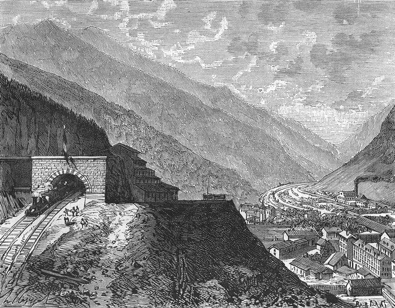 Associate Product MONT CENIS. Introduction. Le tunel du(Modane) 1881 old antique print picture
