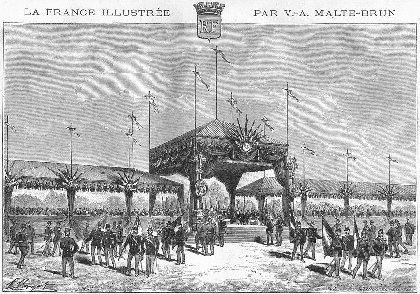 Associate Product LONGCHAMPS. Distribution Drapeaux a(14 1881) 1881 old antique print picture