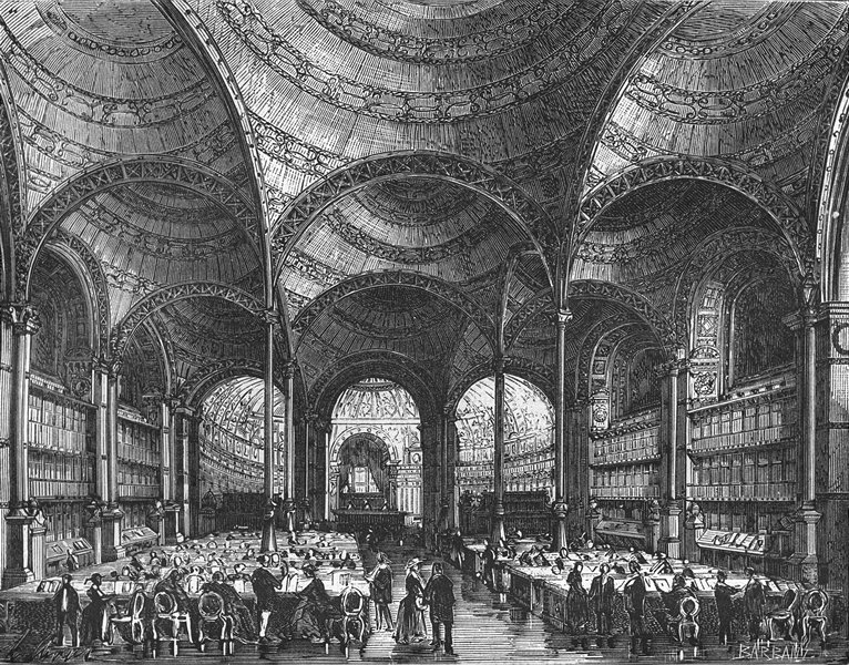 Associate Product PARIS. Salle lecture Bibliotheque nationale  1881 old antique print picture