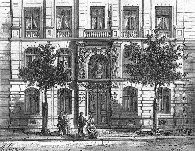 Associate Product PARIS. Hotel Societe Geographie, (Ed Leudiere, ) 1881 old antique print