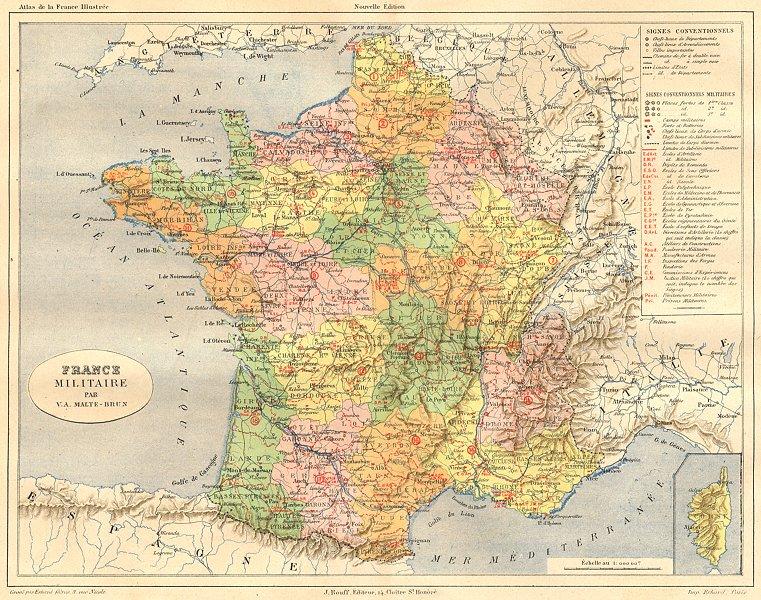 FRANCE. Militaire 1881 old antique vintage map plan chart