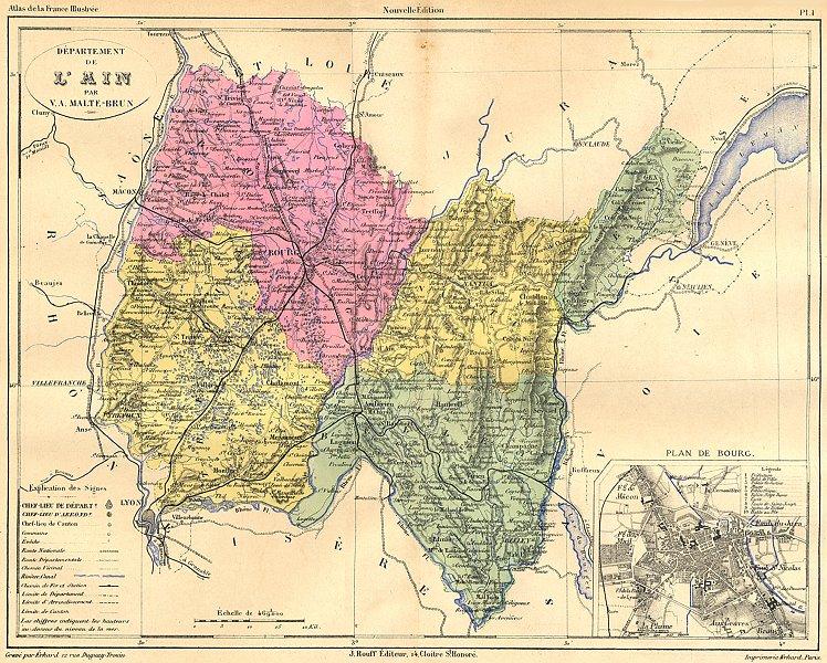 Associate Product AIN. Departement de L'Ain; plan Bourg 1881 old antique vintage map chart