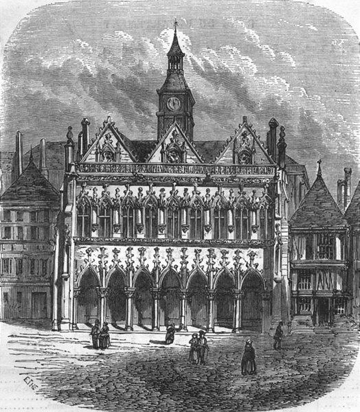 Associate Product AISNE. Hotel de ville St-Quentin 1881 old antique vintage print picture