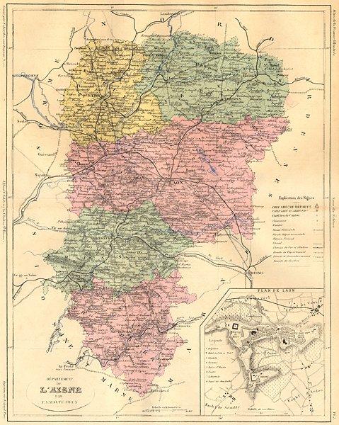 Associate Product AISNE. Departement de L'Aisne; plan Laon 1881 old antique map chart