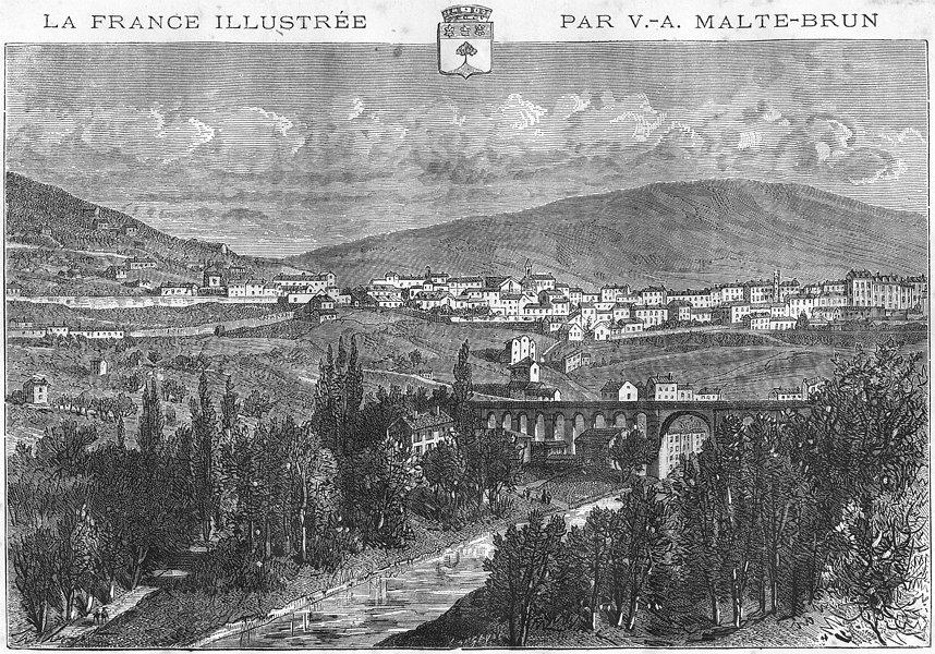 Associate Product ARDÈCHE. Privas 1881 old antique vintage print picture